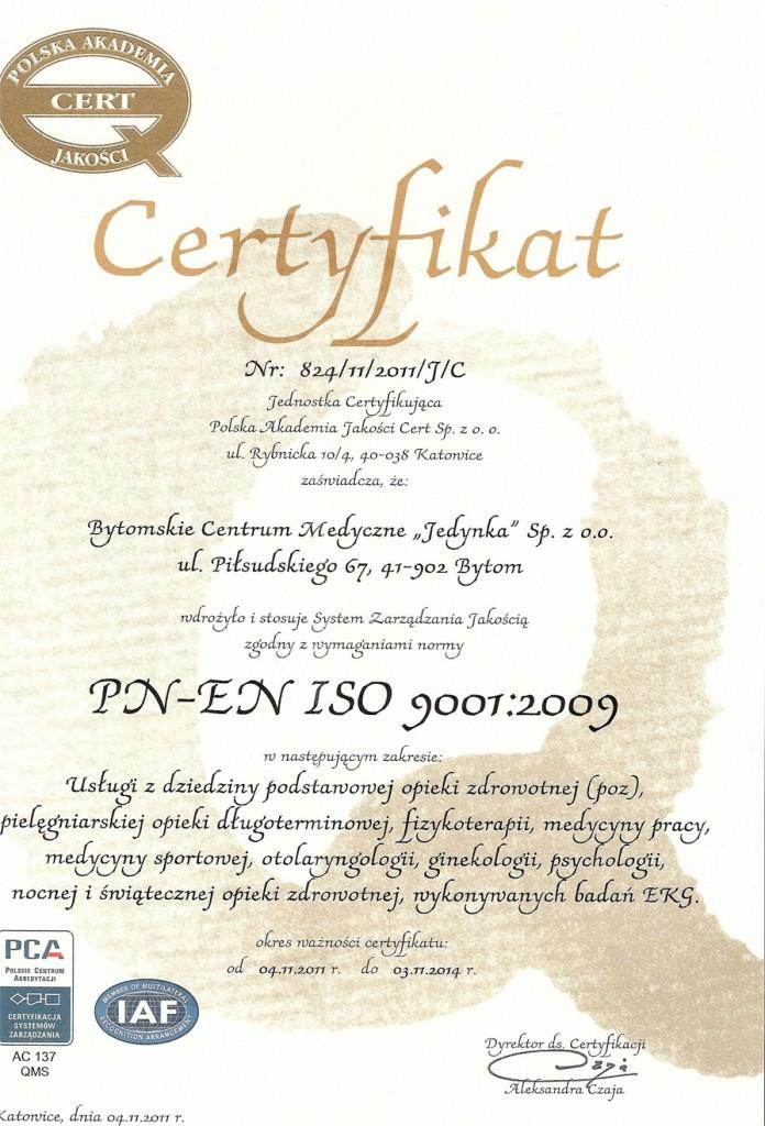 Przychodnia Bytom Jedynka certyfikat jakości